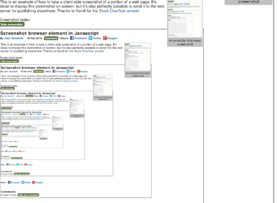 Screenshot browser element in Javascript · Web Programming